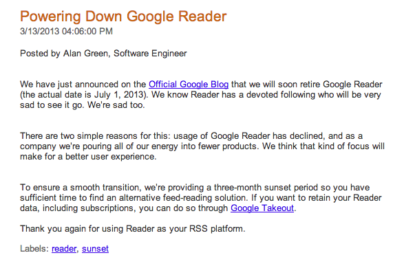 blog oficial google reader, why shotting down google reader
